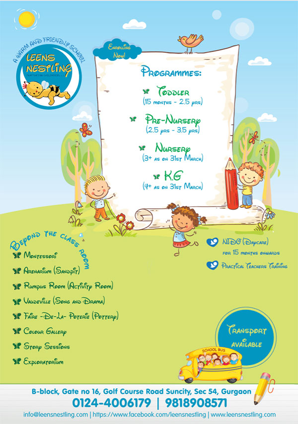 Preschool admission Gurgaon open in Leens Nestling - the best play school Gurgaon