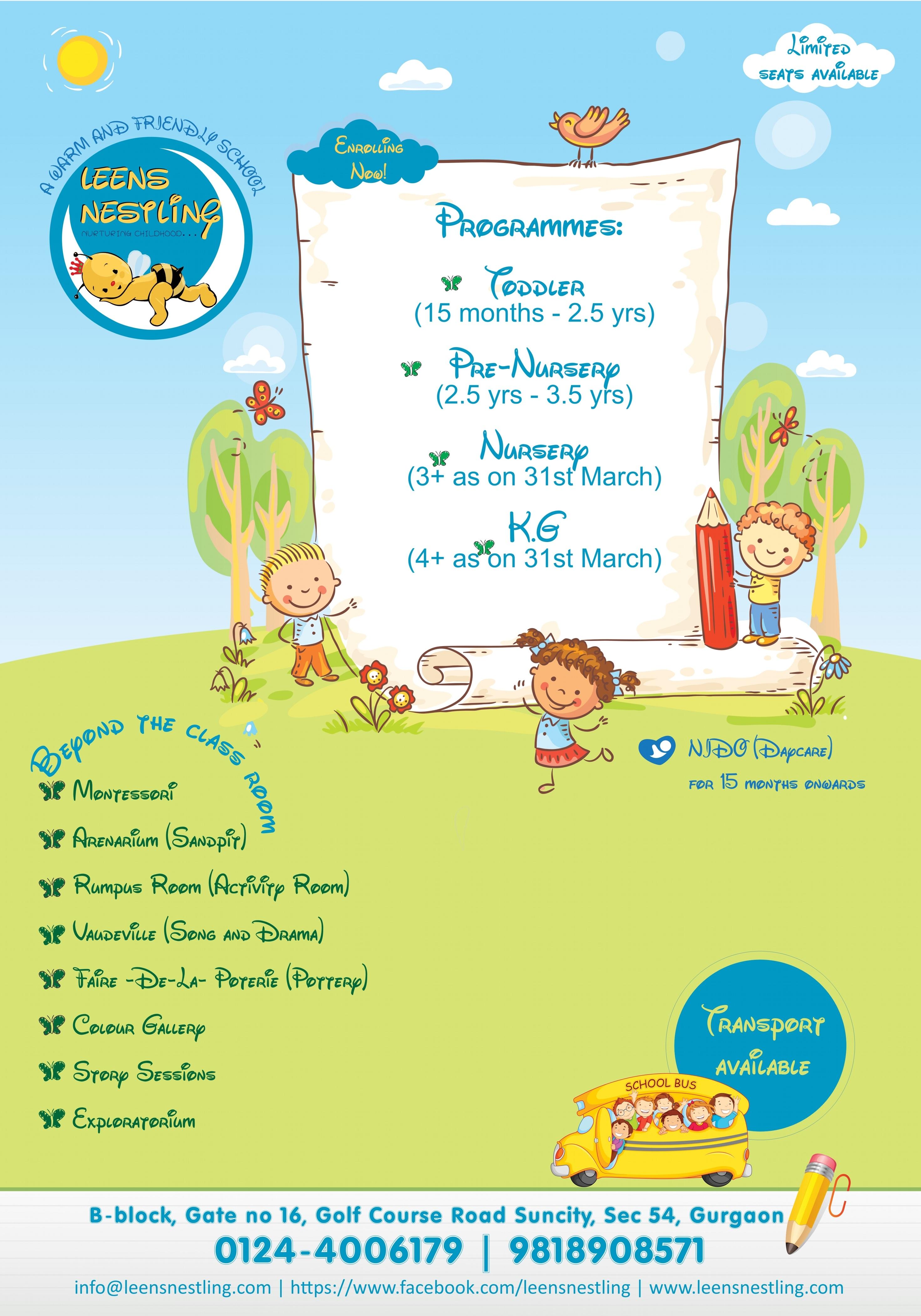 Preschool admission Gurgaon open in Leens Nestling - the best play school Gurgaon